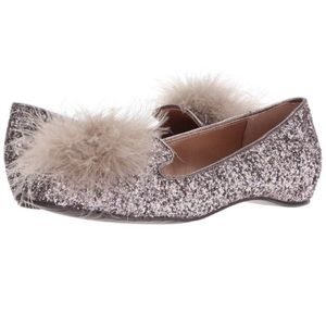 KENNETH COLE Glitter Feather Loafers Flats 7.5